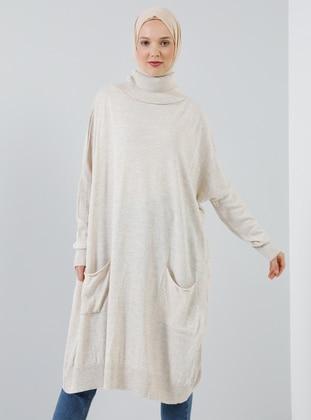 White - Ecru - Polo neck - Acrylic -  - Tunic