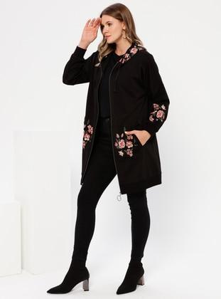Black - Floral -  - Plus Size Tunic
