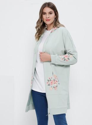 Sea-green - Floral -  - Plus Size Tunic