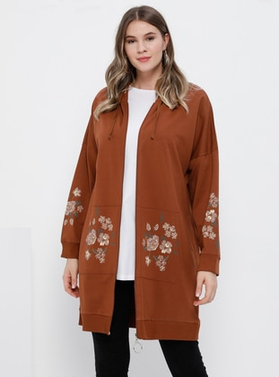 Terra Cotta - Floral -  - Plus Size Tunic