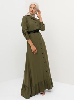 7d5166eda9a41 Doğal Kumaşlı Boydan Düğmeli Kemerli Elbise - Haki