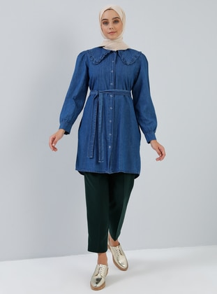 Navy Blue - Point Collar - Denim - Cotton -  - Tunic