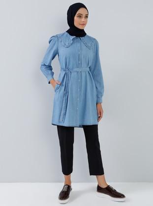Blue - Point Collar - Denim - Cotton -  - Tunic