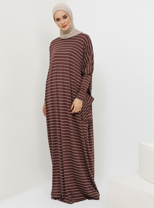 Plum - Stripe - Crew neck - Unlined - Viscose - Dress