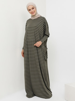 Green - Stripe - Crew neck - Unlined - Viscose - Dress