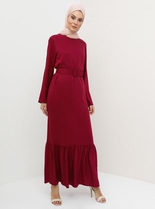 Plum - Crew neck - Unlined - Viscose - Dress