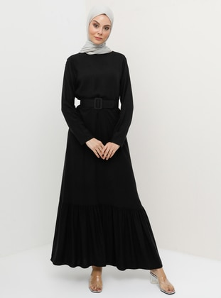 fb2bf448fb649 Doğal Kumaşlı Kemerli Elbise - Siyah. YENİ. Tavin