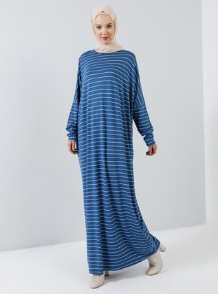 Blue - Saxe - Stripe - Crew neck - Unlined - Viscose - Dress