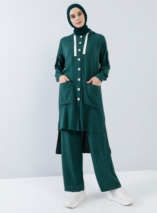 Green - Unlined - Viscose - Suit