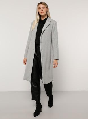 Gray - Fully Lined - Acrylic - - Plus Size Overcoat - Alia
