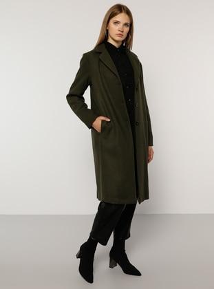 Khaki - Fully Lined - Acrylic -  - Plus Size Overcoat