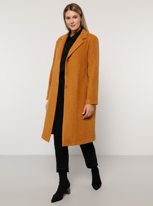 Camel - Mustard - Terra Cotta - Fully Lined - Acrylic -  - Plus Size Overcoat
