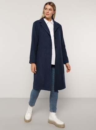 Indigo - Blue - Fully Lined - Acrylic -  - Plus Size Overcoat - Alia