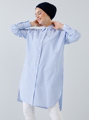 Blue - Stripe - Point Collar -  - Tunic