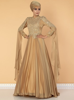 Gold - Fully Lined - Crew neck - Cotton - Viscose - Dress