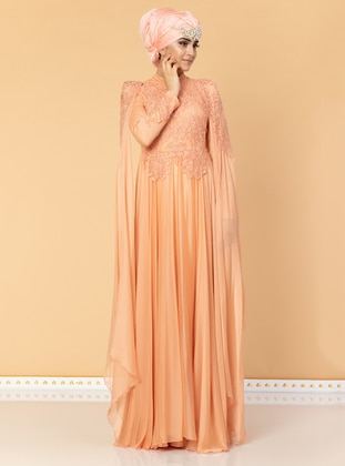 Salmon - Fully Lined - Crew neck - Cotton - Viscose - Muslim Evening Dress