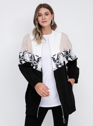 Beige - Black - Unlined - Crew neck -  - Plus Size Coat