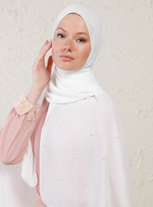White - Plain - Litho - Crepe - Shawl -  Şal