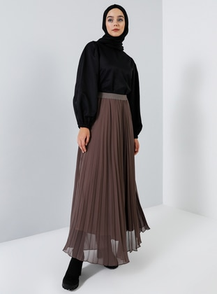 Brown - Fully Lined - Skirt