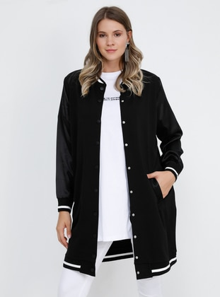 Black - Unlined - Crew neck -  - Plus Size Coat - Alia