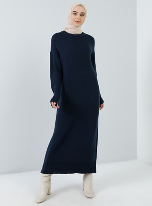 Navy Blue - Crew neck - Unlined - Acrylic -  - Dress