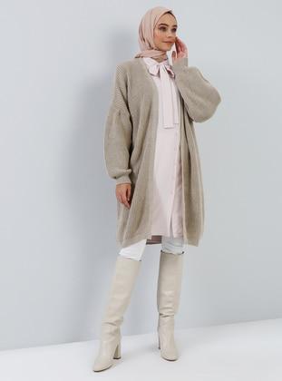 Beige - Acrylic -  - Cardigan