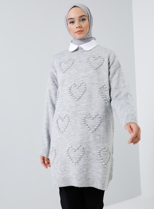 Gray - Polo neck - Acrylic -  - Wool Blend - Tunic
