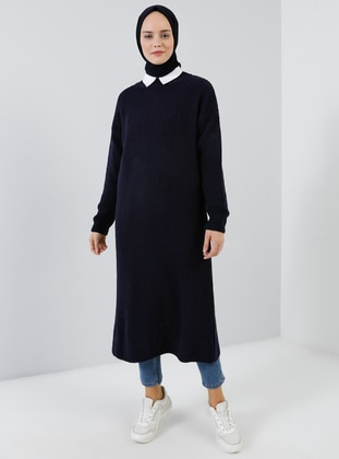 Navy Blue - Crew neck - Acrylic -  - Tunic