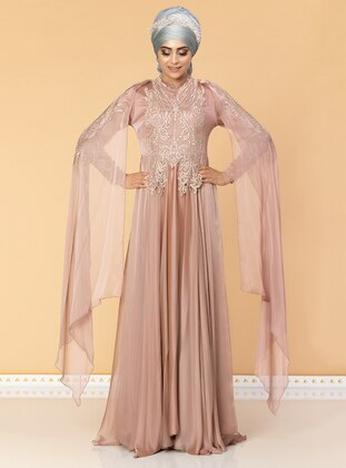 Powder - Fully Lined - Crew neck - Cotton - Viscose - Muslim Evening Dress