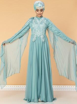 - Fully Lined - Crew neck - Cotton - Viscose - Muslim Evening Dress