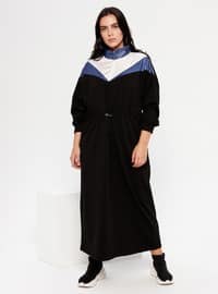 Indigo - Blue - Black - Unlined - Polo neck -  - Plus Size Dress