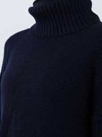 Navy Blue - Polo neck - Acrylic -  - Tunic