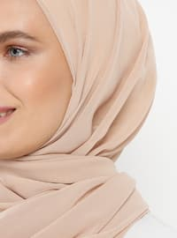 Beige - Plain - Viscose - Shawl