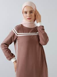 Brown - Crew neck - Unlined - Dress