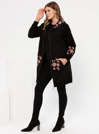 Black - Floral -  - Plus Size Tunic