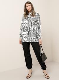 Black - White - Ecru - Multi - Point Collar - Plus Size Tunic
