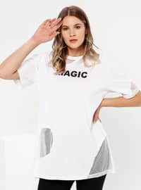 White - Ecru - Crew neck -  - Plus Size Tunic