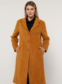 Camel - Mustard - Terra Cotta - Fully Lined - Acrylic - - Plus Size Overcoat