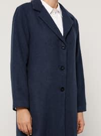 Indigo - Blue - Fully Lined - Acrylic - - Plus Size Overcoat