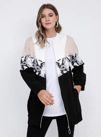 Beige - Black - Unlined - Crew neck -  - Plus Size Coat