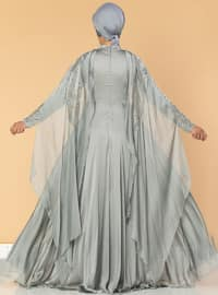 Gray - Fully Lined - Crew neck - Cotton - Viscose - Muslim Evening Dress