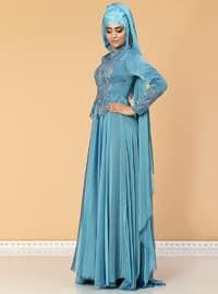 Blue - Fully Lined - Crew neck - Cotton - Viscose - Muslim Evening Dress