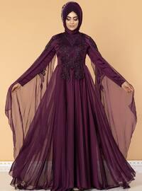 Purple - Fully Lined - Crew neck - Cotton - Viscose - Muslim Evening Dress