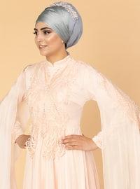 Salmon - Fully Lined - Crew neck - Cotton - Viscose - Muslim Evening Dress