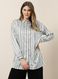 Green - Stripe - Multi - Point Collar - Plus Size Tunic