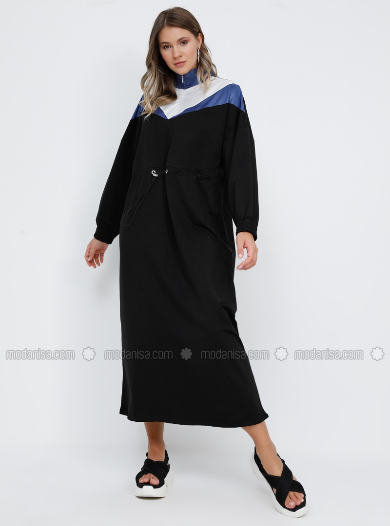Indigo - Blue - Black - Unlined - Polo neck - - Plus Size Dress