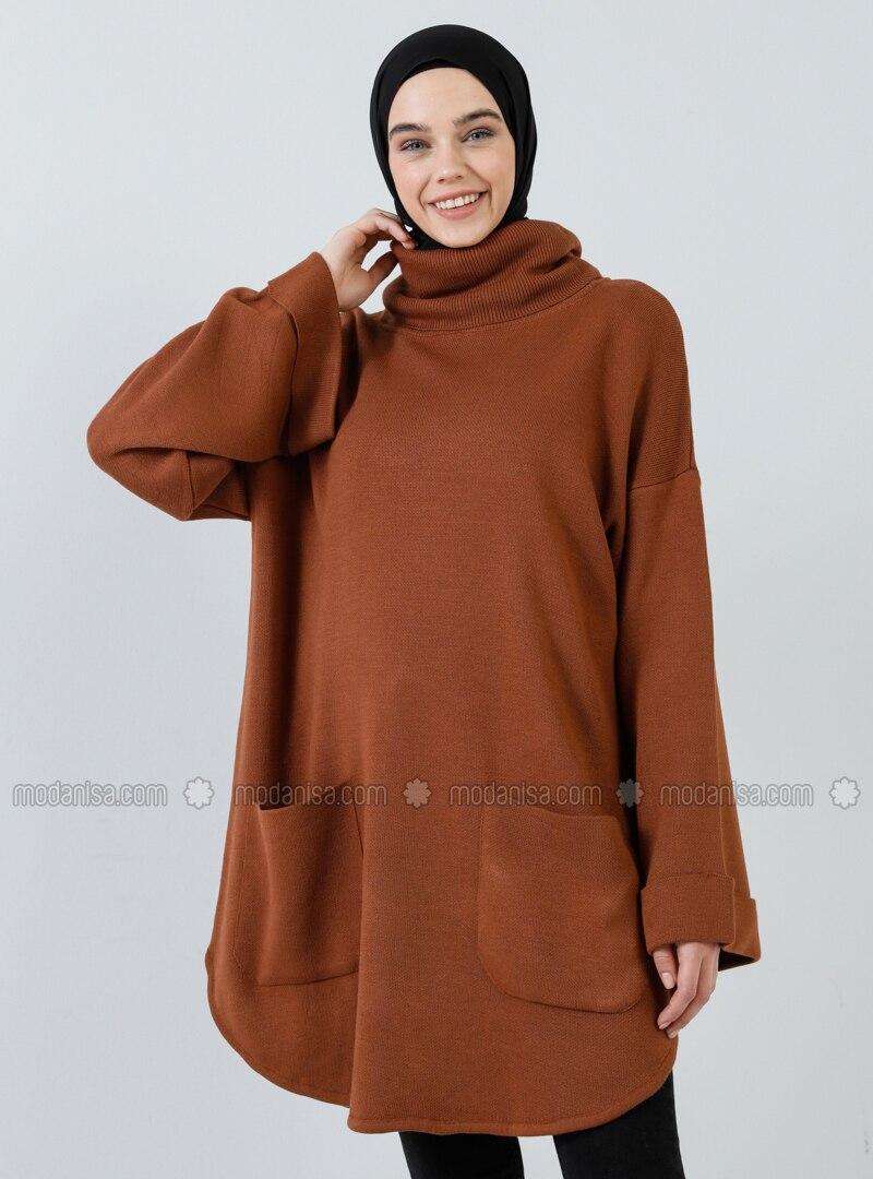Copper - Tan - Polo neck - Acrylic - - Tunic