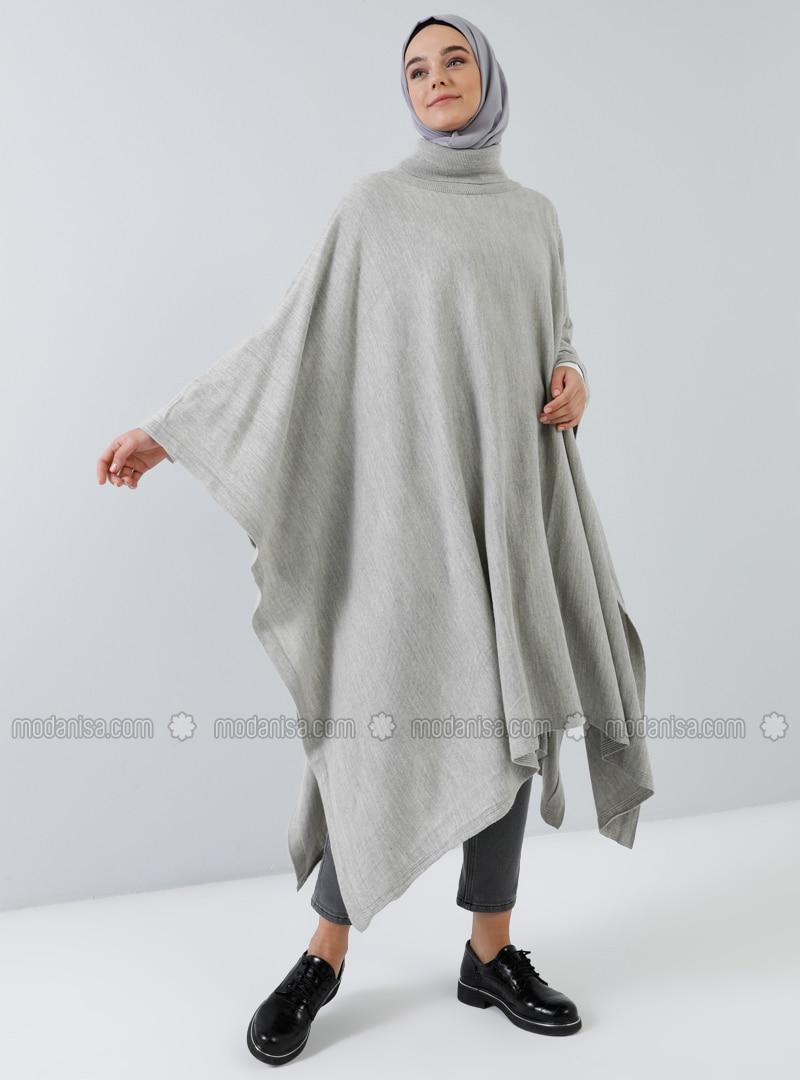 Gray - Polo neck - Unlined -  - Poncho