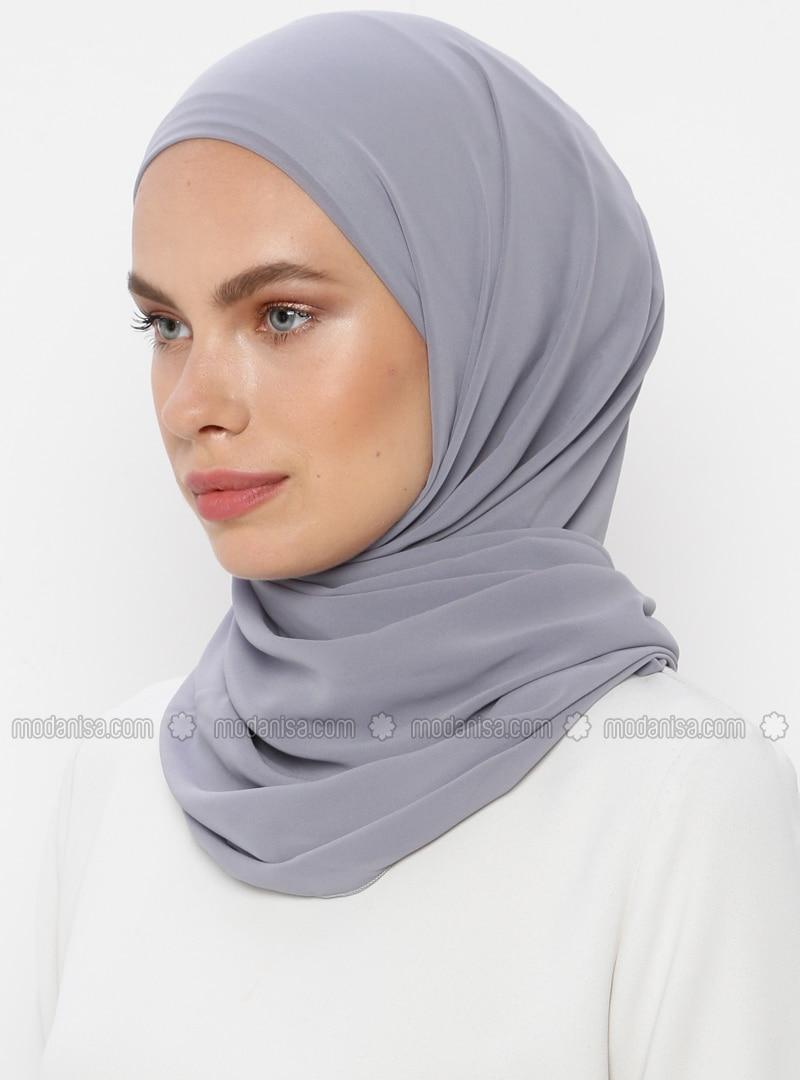 Gray - Plain - Viscose - Shawl