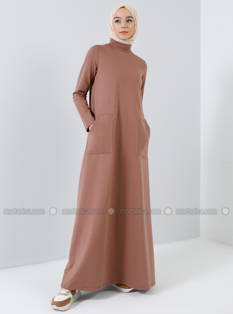 Brown - Polo neck - Unlined - Cotton - Dress